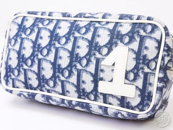 authentic pre-owned christian dior vintage trotter pouch blue white nylon spain 200410