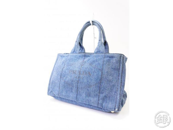 authentic pre-owned prada canapa blue denim bag tote bag handbag b1877b 200408