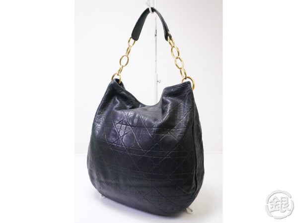 authentic pre-owned christian dior black lady dior cannage quilted lambskin hobo bag 200405