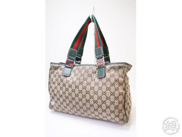 authentic pre-owned gucci sherry line 145758 canvas monogram shopper shoulder tote beige 200406
