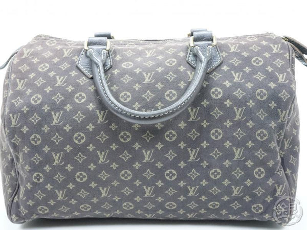 AUTHENTIC PRE-OWNED LOUIS VUITTON MONOGRAM MINI LIN EBENE DARK BROWN SPEEDY 30 BOSTON HAND BAG M95224