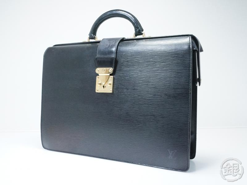 AUTHENTIC PRE-OWNED LOUIS VUITTON EPI BLACK NOIR SERVIETTE FERMOIR BRIEFCASE BAG M54352 152759