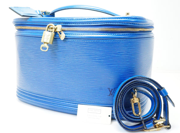 AUTH PRE-OWNED LOUIS VUITTON EPI BLUE NICE VANITY COSMETIC BAG KEY M48015 181025