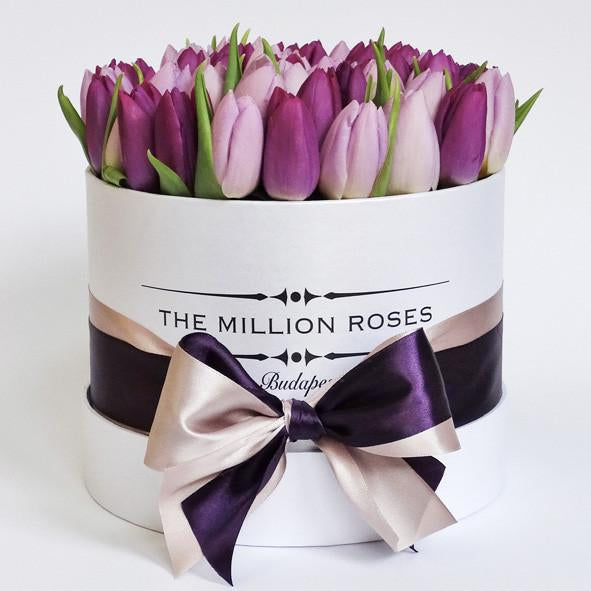 Small - Mix Tulips (Pink , Purple) - White Box - The Million Roses Slovakia