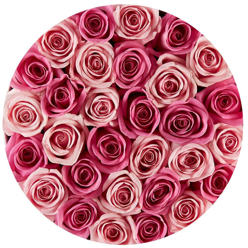 Small - Pink Mix Roses - White Box - The Million Roses Slovakia