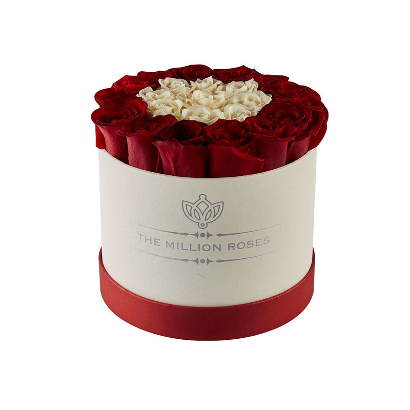 Small - White & Red Roses - White Box - The Million Roses Slovakia