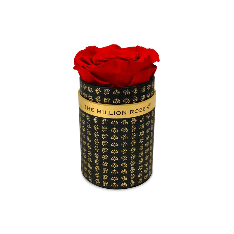 Single Rose Box - Black All Over Logo - The Million Roses Slovakia