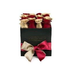 Cube - Red & Gold Roses - Black Box - The Million Roses Slovakia