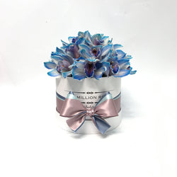 Small - Blue Orchids- White Box - The Million Roses Slovakia