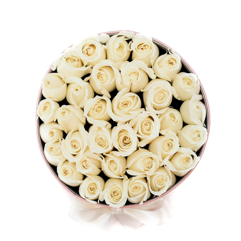 Small - White  Roses - Pink Box - The Million Roses Slovakia