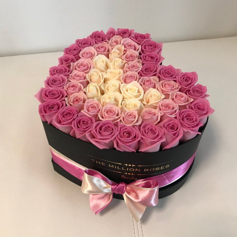 Black Heart Box- Mix Roses - The Million Roses Slovakia