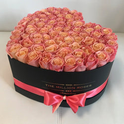 Big Black Heart Box - Peach Roses - The Million Roses Slovakia