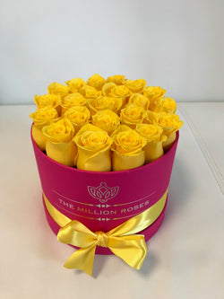 Small Magenta Box- Yellow Roses - The Million Roses Slovakia