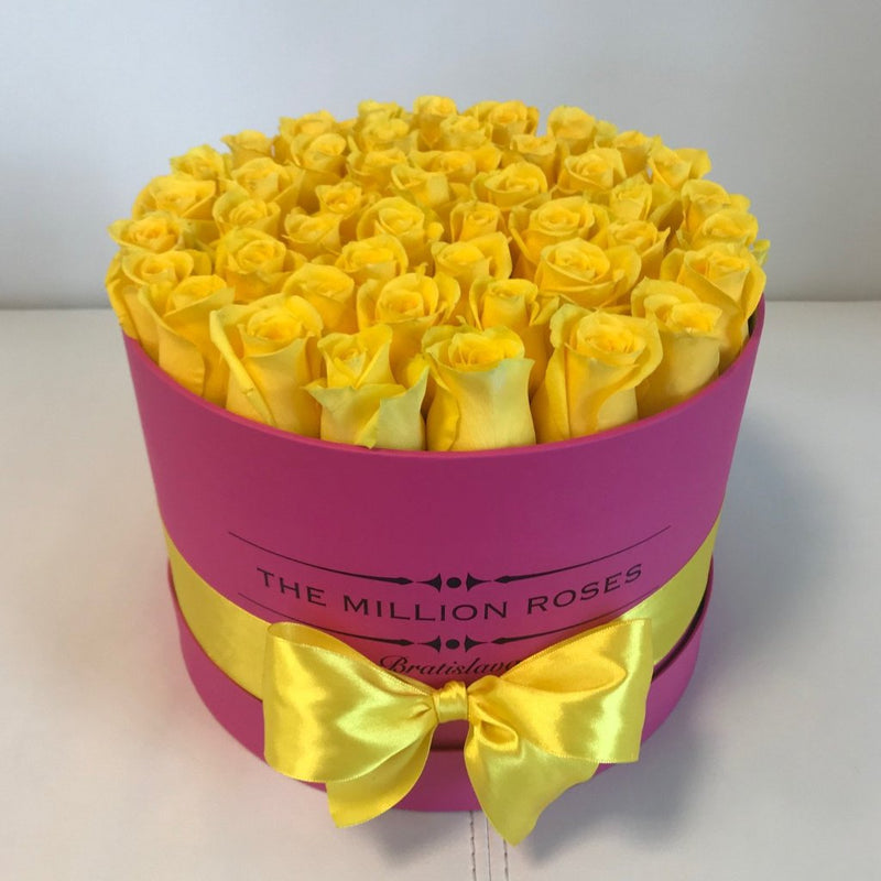Medium Magenta Box- Yellow Roses - The Million Roses Slovakia