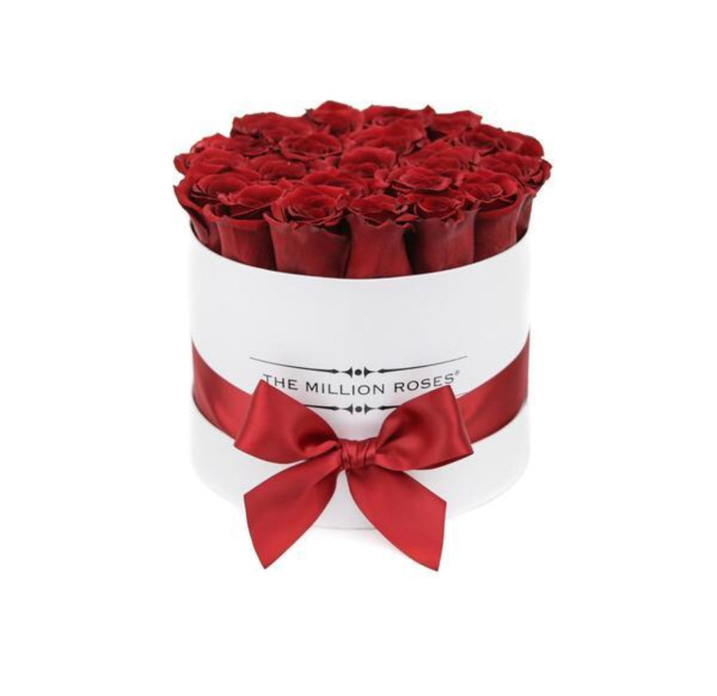 Small - Red  Roses - White Box