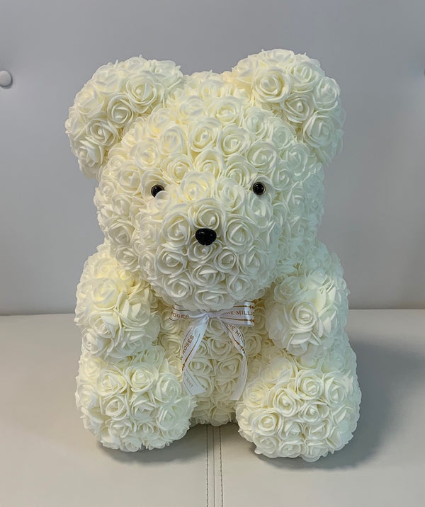 Rose Bear- White, 40cm - The Million Roses Slovakia