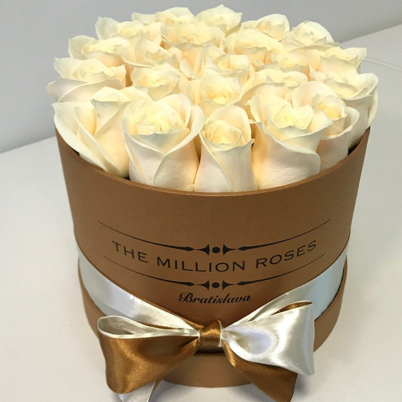 Small - White Roses - Brown Box - The Million Roses Slovakia