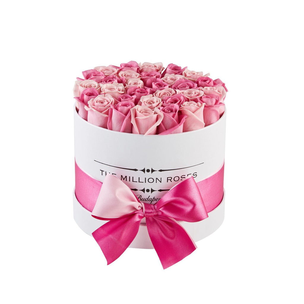 Small - Pink Mix Roses - White Box