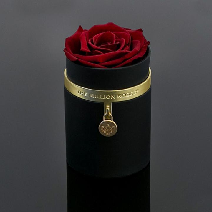 One in a million™ - Black Box / gold metal charm / Red Rose - The Million Roses Slovakia