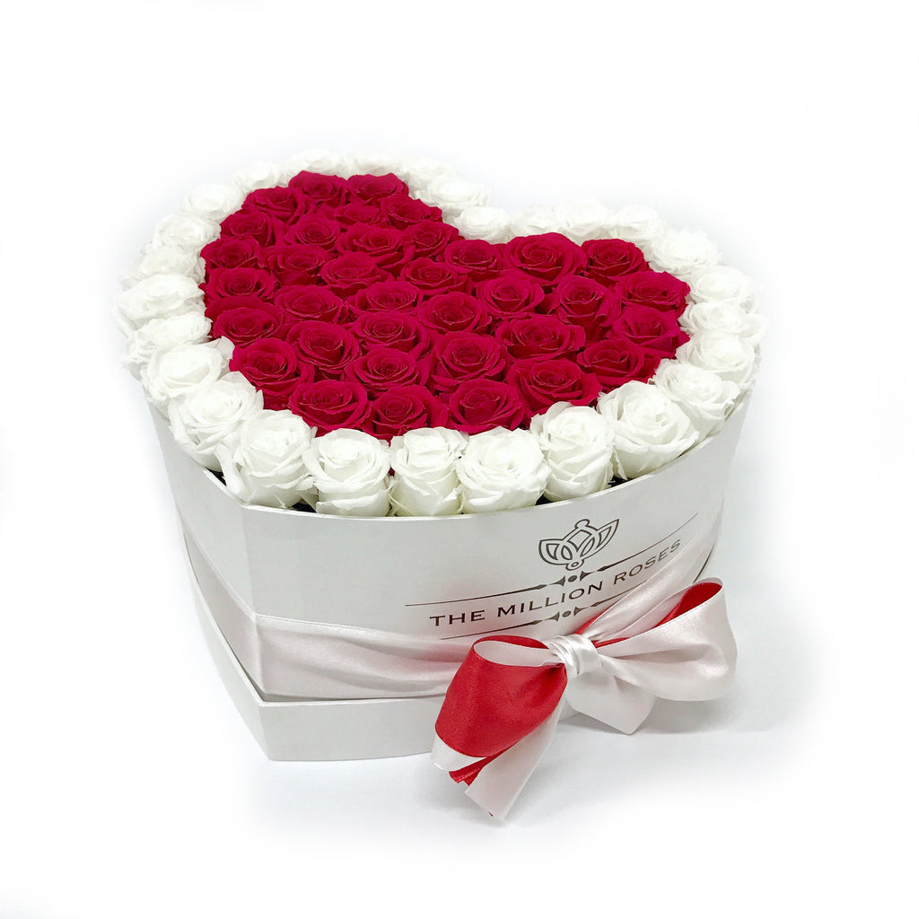 Heart - Red/White Eternity Roses - White Box - The Million Roses Europe - Italia, France, Österreich, Deutschland, Espana