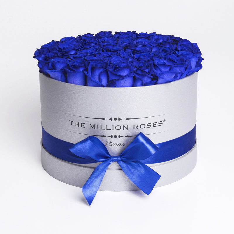 Medium - Blue Roses - Silver Box - The Million Roses Slovakia