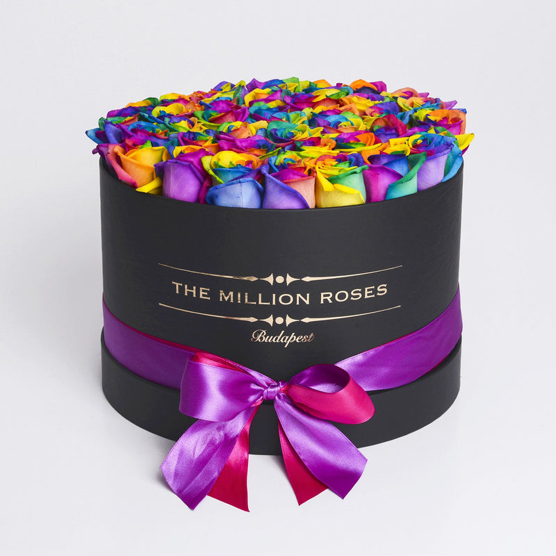 Medium - Rainbow Roses - Black Box - The Million Roses Slovakia