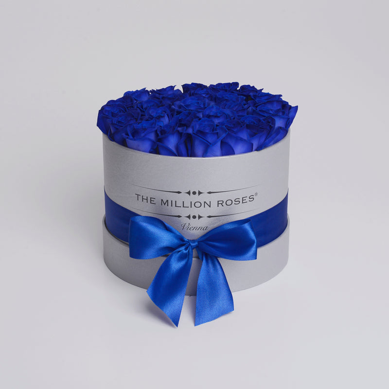 Small - Blue Roses - Silver Box - The Million Roses Slovakia
