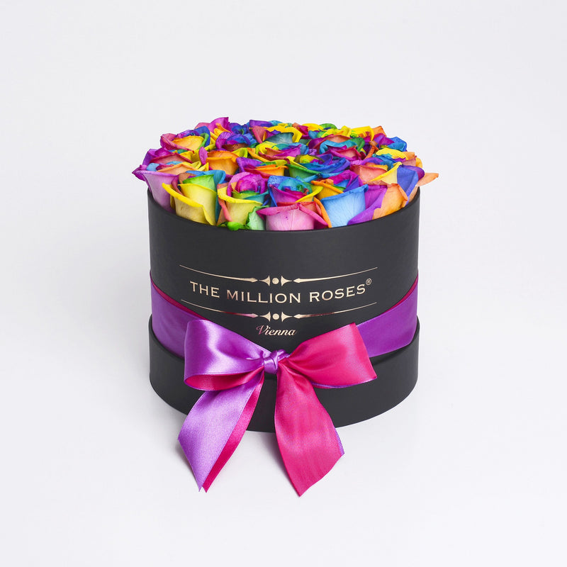 Small - Rainbow Roses - Black Box - The Million Roses Slovakia