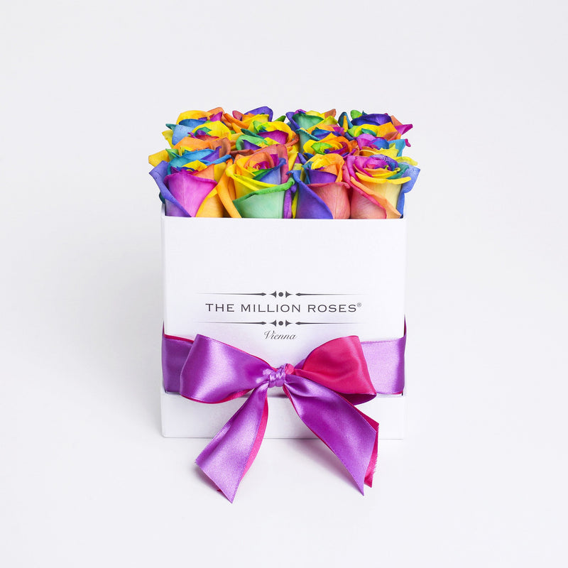 Cube - Rainbow Roses - White Box - The Million Roses Slovakia