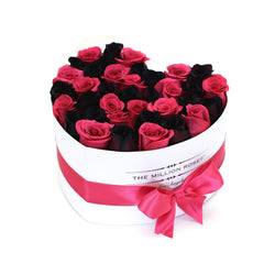 The Million Love Heart - Pink & Black Roses - White Box - The Million Roses Slovakia
