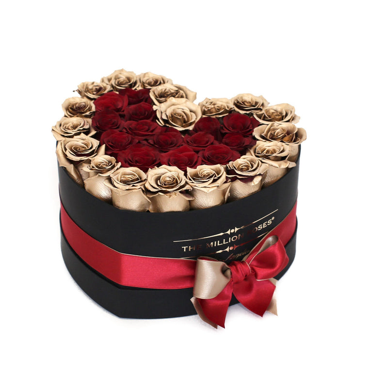 The Million Love Heart - Red & Gold Roses - Black Box - The Million Roses Slovakia