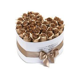 The Million Love Heart - Gold  Roses - White Box - The Million Roses Slovakia