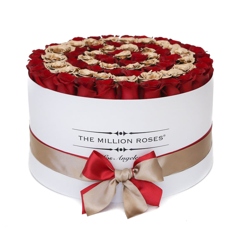The Million Large Luxury Box - Red Roses & Golden Circles