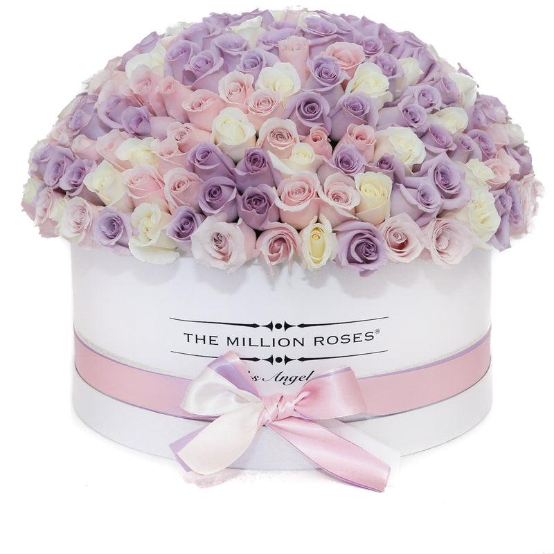 The Million Large Luxury Box - Candy Pink & White & Purple Roses - White Box - The Million Roses Slovakia