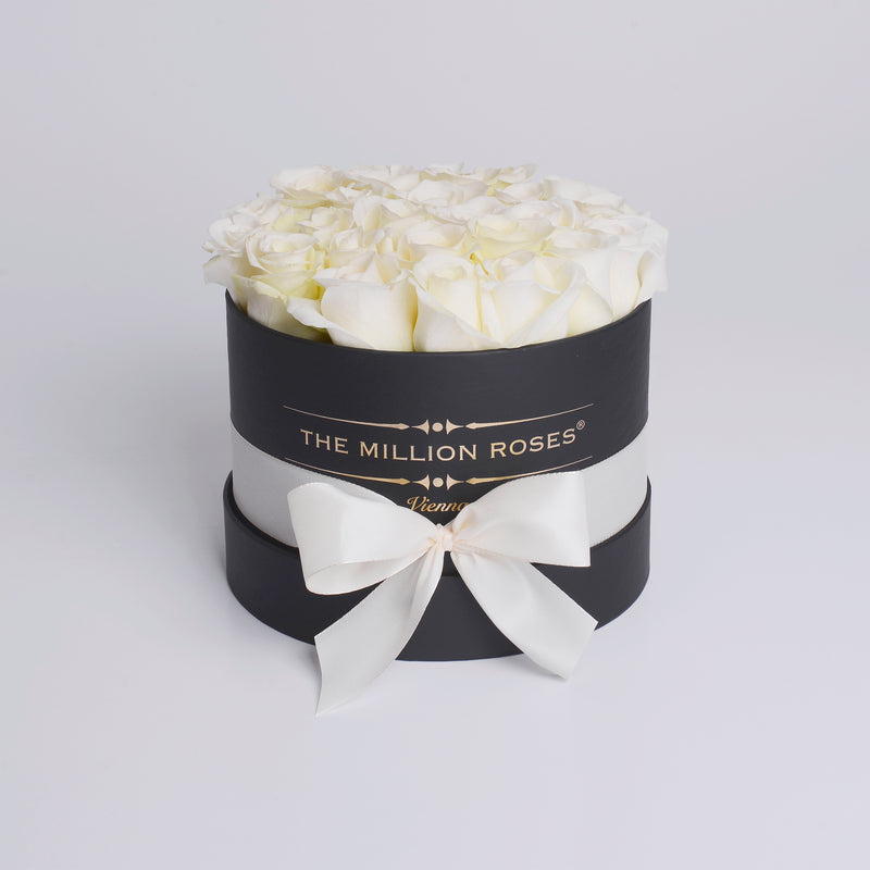 Small - White  Roses - Black Box