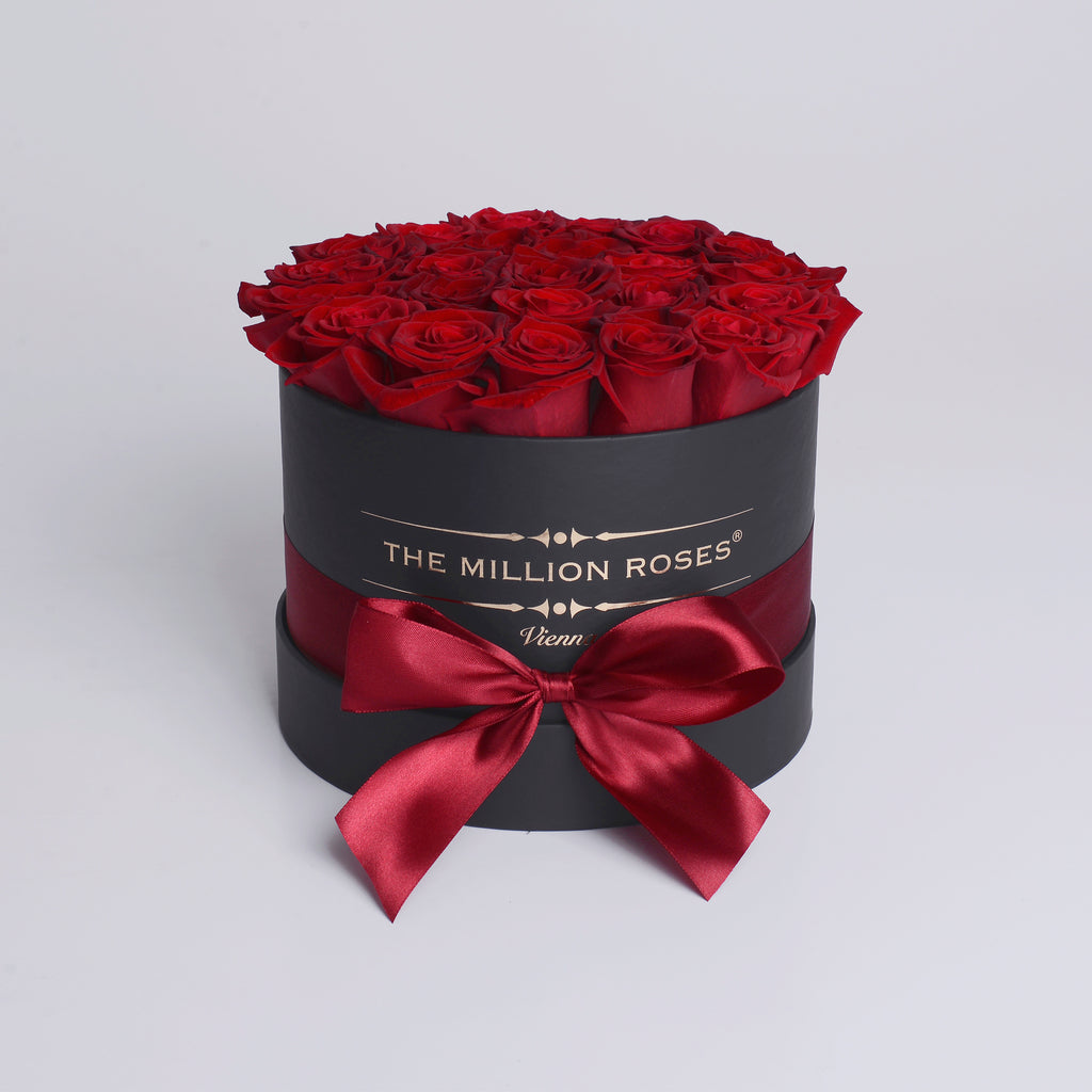 Small - Red Roses  - Black Box