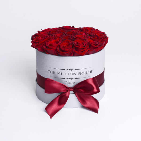 Small - Red Roses  - Silver Box - The Million Roses Slovakia