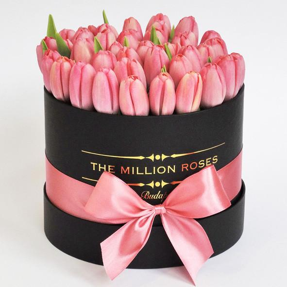 Small - Pink Tulips - Black Box