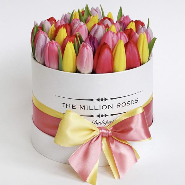 Small - Mix Tulips- White Box - The Million Roses Slovakia