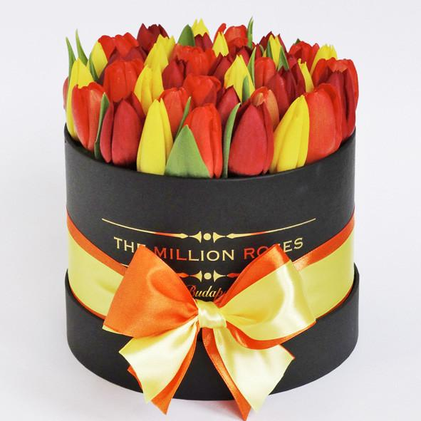 Small - Mix Tulips - Black Box - The Million Roses Slovakia