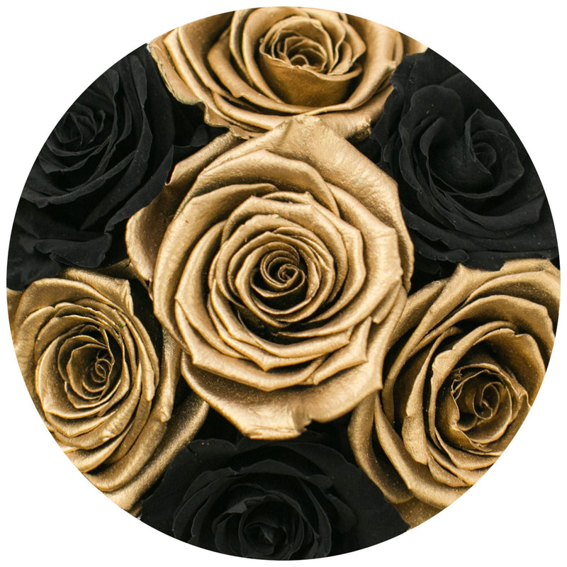 The Million Basic - Black & Gold Roses - White Box - The Million Roses Slovakia