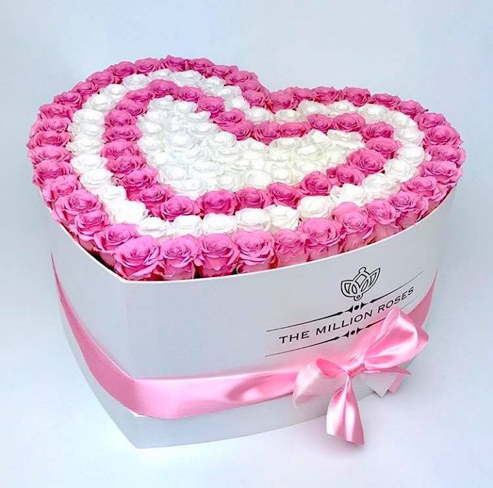 The Million Love Heart -  Pink & White Roses - White Box - The Million Roses Slovakia