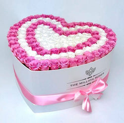 The Million Love Heart -  Pink & White Eternity Roses - White Box - The Million Roses Slovakia