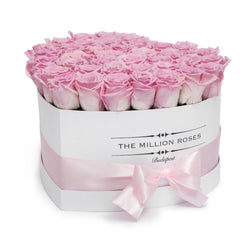 The Million Love Heart - Pink Eternity Roses - White Box - The Million Roses Slovakia