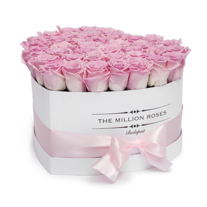 The Million Love Heart - Pink Roses - White Box - The Million Roses Slovakia