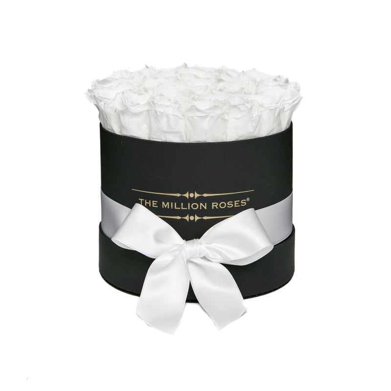 Small - White Eternity Roses - Black Box - The Million Roses Slovakia