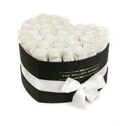 The Million Love Heart - White Eternity Roses - Black Box - The Million Roses Slovakia