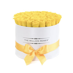 Medium - Yellow Eternity Roses - White Box - The Million Roses Slovakia