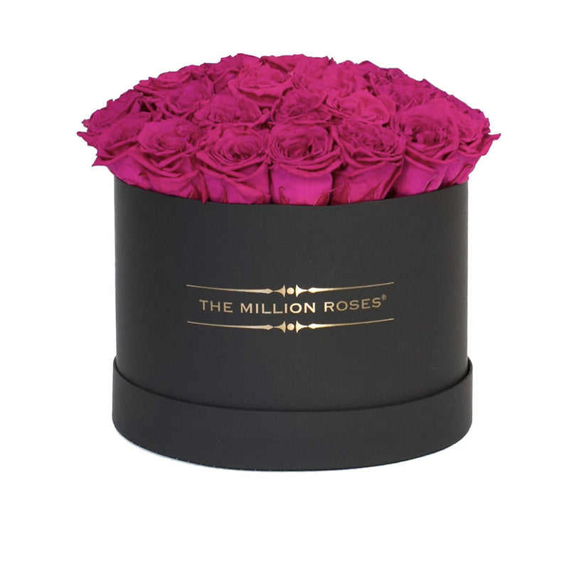 "Medium - Hot Pink Eternity Roses ""Sphere"" - Black Box - The Million Roses Slovakia"
