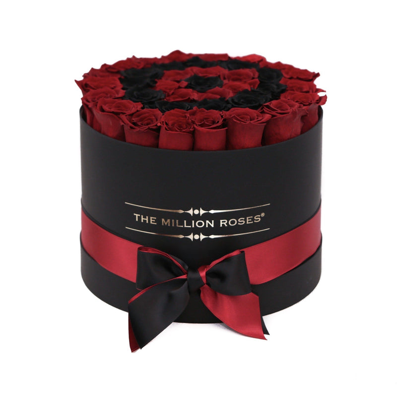 Medium - Red Eternity Roses & Black Circles - Black Box